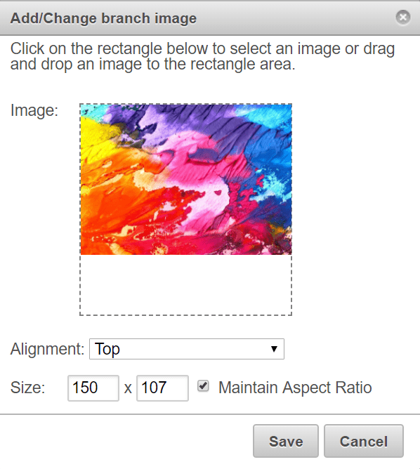 Add image to branch online